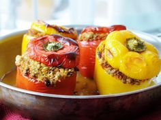 These lentil quinoa and vegetable stuffed peppers are filled with protein and veggie and a sultry smoky flavor that will have you going back for seconds. Vegan Dishes, Food Dishes, Vegan Food, Main Dishes, Meat Recipes, Whole Food Recipes, Protein Recipes, Vegetarian Recipes, Recipies