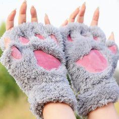 Aliexpress.com : Buy Ladies Winter Fingerless Gloves,Fluffy Bear Cat Plush Paw…