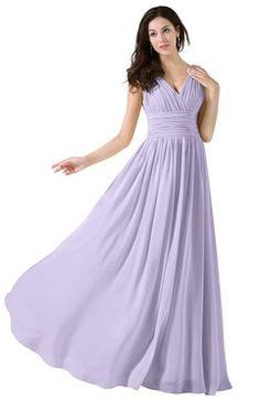 4d8b5acb3b835 ColsBM Alana Light Purple Elegant V-neck Sleeveless Zip up Floor Length  Ruching Bridesmaid Dresses