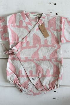 Pink Elephant Baby Kimono Wrap, Linen