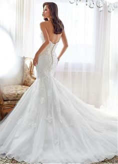 Pure Sweetheart Sleeve Sleeveless Inverted Basque Full Length Mermaid Trumpet Chapel Wedding Dresses