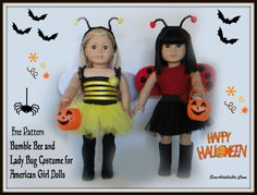 American Girl Dolls : Free Pattern – Lady bug and Bumble Bee Costume for AG dolls Sewing Doll Clothes, American Doll Clothes, Sewing Dolls, Ag Dolls, Girl Doll Clothes, Girl Dolls, Paper Doll Costume, American Girl Diy, American Girl Halloween