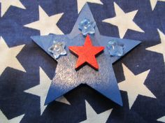 Wood Patriotic Star Magnet by MesheleCrafts on Etsy