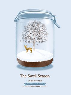 The Swell Season concert poster at the Wiltern, Los Angeles- Nov 2009 hand made 4 color silkscreen print on classic crest stock poster measures 18 inches x 24 inches signed and numbered edition of 200 artist: DKNG