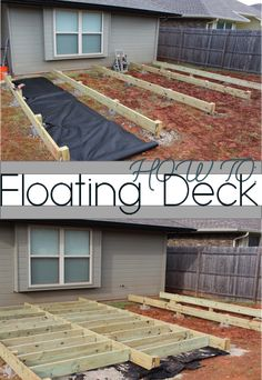Backyard Makeover: Floating Deck Phase 1 2019 DIY Floating Deck How To for a Backyard Makeover The post Backyard Makeover: Floating Deck Phase 1 2019 appeared first on Deck ideas. Building A Floating Deck, Building A Deck, Floating Deck Plans, House Building, Backyard Patio, Backyard Landscaping, Wood Patio, Diy Patio, Dyi Deck