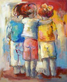Kinderen 110 x 90 acryl Maria de Vries