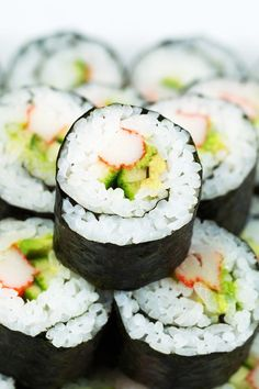 California Roll Sushi Recipe with Cucumber, Avacado, and Crab - A Low Calorie, Low Fat Appetizer