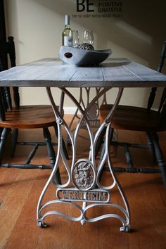 vintage wertheim sewing machine transformed into a dining table - Kitchen Table Sewing
