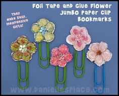 Mother's Day Craft - Foil Tape and Glue Flower Bookmarks for Mom from www.daniellesplace.com