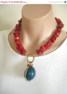 ON SALE ASHIRA Natural Red Coral Necklace with by AshiraJewelry, $133.00