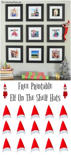 Transform family photos into Elf photos with free printable Elf On The Shelf Hats. Easy Elf on the Shelf idea; just print, cut and tape onto framed photos.