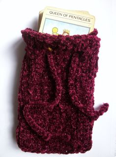Hand knitted hats, festival tops,tarot card pouches, tea cosies and lots of handknit accessories. Festival Tops, Pouch Bag, Hand Knitting, Tarot, Knitted Hats, Velvet, Shapes, Trending Outfits, Unique Jewelry