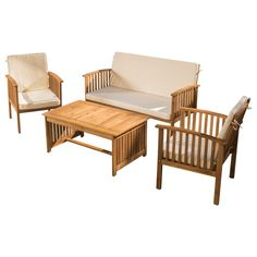 Artfully crafted of acacia and showcasing a classic slatted design, this lovely seating group is perfect for kicking back by the pool or gathering friends for happy hour on the patio.