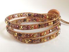 Glamorous golden Czech glass beaded bohemian leather triple wrap bracelet