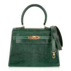 For Sale on - Guaranteed authentic Hermes insanely beautiful mini Vintage Hermes Kelly 20 Sellier featured in rare Vert Moyen lizard. This deep exotic green is lush Hermes Kelly Bag, Hermes Bags, Hermes Handbags, Fashion Handbags, Green Handbag, Classic Handbags, Cute Bags, Online Bags, Bag Sale
