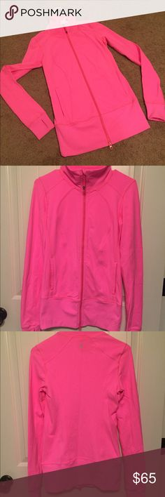 Lululemon athletica zip up Bright pink size 4 lululemon athletica zip up. Worn only a handful of times, excellent condition - just haven't found use for it! lululemon athletica Jackets & Coats Utility Jackets