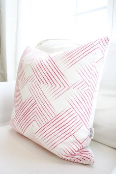 Woven Berry Pillow Cover Hot Pink Weave by WhiteHavenDesigns #etsy #homedesign #home #pillow #decoration #bedroom #livingroom #usahandmade #pink #pattern