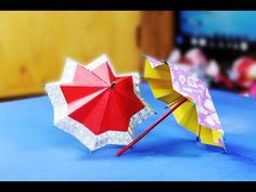 Origami umbrella at home using colored paper// paper umbrella Colored// paper umbrella - YouTube
