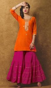 Orange Color Chanderi Embroidered Palazzo Suit #palazzosalwarsuitusa#printedpalazzosuits Be prepared to slip in the comfort zone of orange color chanderi embroidered palazzo suit. The fantastic attire creates a dramatic canvas with fantastic floral patch, lace and resham work. USD$ 95(Around £ 66 & Euro 72)