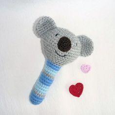 Amigurumi Koala Baby Rattle Crochet Baby Toy by MWHandicrafts