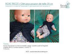 Fiche tricot : le gilet de poupée ! DIY par Barnabé aime le café Pull Bebe, Knit Crochet, Kids Rugs, Dolls, Knitting, Baby, Armoire, Little Girl Clothing, Blue Prints