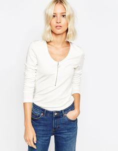 Weekday Long Sleeve Zip Front Top