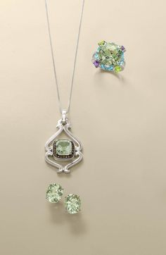 Amethyst jewelry is particular attractive when paired with other gemstones and also in mixed gemstone settings. Some of our most popular styles include amethyst earrings, amethyst pendants, and the venerable amethyst cocktail ring — spiced with diamonds or topaz accents. >>Click on this pin to shop Green Amethyst Jewelry.  #green #amethyst #jewelry #rosssimons