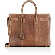 Saint Laurent Women's Small Sac De Jour (13.685 DKK) ❤ liked on Polyvore featuring bags, brown, logo bags, handle bag, snakeskin bag, yves saint laurent bags and brown handle bags