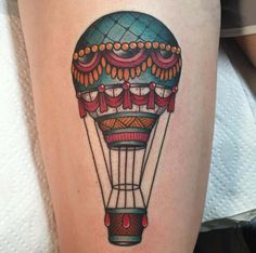 Neo Traditional Hot Air Balloon Tattoo by Tannis Weaver