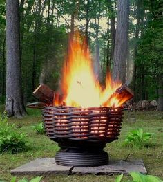 Cable weave fire pit