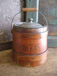 Small Early Antique Sugar Bucket Firkin w Tin Lid Top of Stack   eBay