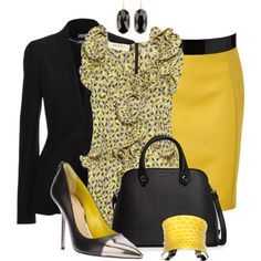 Yellow Skirt work flow as well as Sunday's best. would rock it with a wedge heel sandal Classy Outfits, Chic Outfits, Fashion Outfits, Fall Outfits, Modest Fashion, Skirt Fashion, Diva Fashion, Womens Fashion, Fashion Design