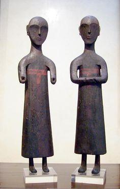 pair of wooden figures - Pair of wooden figures - Chu kingdom Vth BC (Warring