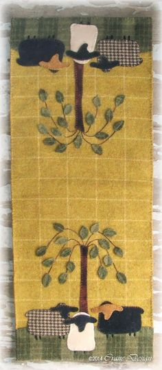 Crane Design by Jan Mott Wool Applique Penny Rug & Punchneedle Patterns