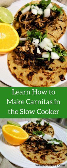 Easy-to-make Slow Cooker Carnitas  carnitas recipe, slow cooker carnitas recipe, Mexican carnitas, carnitas crockpot, carnitas recipe easy, carnitas tacos, taco Tuesday, damn delicious