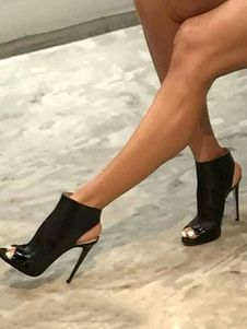 eb4d4d48d Black Sandal Booties Peep Toe Stiletto PU Slingbacks Ankle Boots For Women