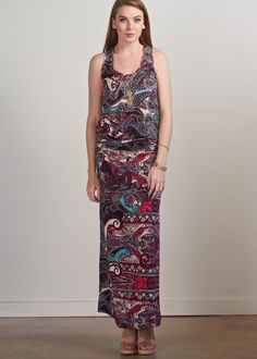 Veronica M Terra racerback dress; black, cream, plum, & turquoise abstract print maxi dress featuring drop waist & stretchy wrinkle free material, comfortable day to night maxi dress, easy layering dress, transitional year round maxi dress, travel friendly vacation ready dress, must have racerback maxi dress for 2016