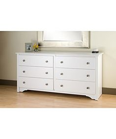Elegant design enhances any bedroom decor  Six full size dresser drawers that run on smooth all-metal roller glides with built-in safety stops  Details include a white finish, profiled top, side moldings and an arched kick plate