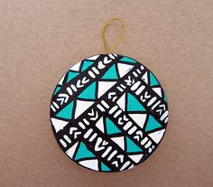 Teal and White Triangles Circle Ornament by HomeDecorKATNAWLINS, $7.50