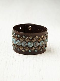 Turquoise Studded Belt Bracelet http://www.freepeople.com/accessories-the-jewelry-box-bracelets/turquoise-studded-belt-bracelet/