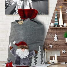 Luxury Winter Grey Santa Christmas Sack with Personalised Wooden Name Tag. Click the visit button above to buy. Santa Christmas, Christmas Stockings, Christmas Ideas, Xmas, Christmas Presents, Christmas Ornament, Christmas Decor, Santa Sack, Fabric Gift Bags