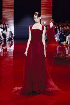 Elie-Saab-Paris-Couture-Fashion-Week-AW-2013-2014-crimson silk velvet and mousseline.