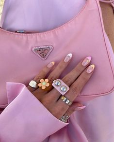 Funky Jewelry, Cute Jewelry, Beaded Jewelry, Jewlery, Dream Nails, Us Nails, Pink Nails, Cute Nail Designs, Nails On Fleek