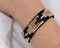 Black Gold Silver Bracelet for Women, Chunky Stack bracelets, Trendy Black Bracelet, Boho Jewelry Bracelet Gift, Everyday Beaded Bracelet Silver Bracelets For Women, Dainty Bracelets, Stackable Bracelets, Black Bracelets, Gemstone Bracelets, Womens Jewelry Rings, Fashion Bracelets, Sterling Silver Bracelets, Boho Jewelry