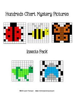 Hundreds Chart Mystery Pictures - Insects Pack - This is a set of 5 fun printable worksheets for students to practice place value and recognizing colors and numbers on a hundreds chart. Use the key to color in the boxes and reveal a hidden picture!  Pictures are: ladybug, bee, monarch butterfly, grasshopper, beetle $