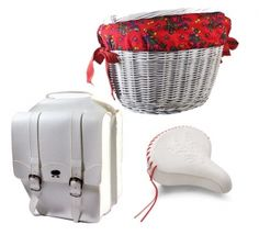 a set of white bicycle accessories. Adorable!  www.bikebelle.pl $160