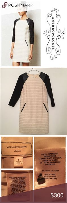 """Anthropologie Moulinette Soeurs cream shift dress  Same day shipping (excluding Sun/holidays or orders placed after P.O. Closed) ❓Please ask any questions prior to buying. I want you to be % Happy❣  Perfect for a special evening: gorgeous cream dress with a beautiful weight textured fabric and 3/4 stretch sleeves with vegan leather shoulder accents and pocket detailing. The pockets are functional and there is a beaded back closure. Flat measurements: 17"""" across bust, 33.5"""" long and the…"""