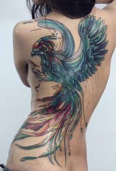 Stunning Phoenix Tattoos on Back