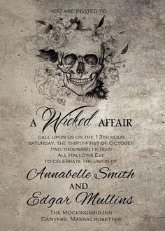 These Wicked Halloween themed wedding Invitations are perfect for your Halloween, Fall or Offbeat Wedding Celebration! They can be customized with whatever wording and information youd like. If you need more customization or extra details cards etc, message first before purchase and we can create a custom listing for you. There is a matching reply card included in this listing as well. Each Invitation is 5x7 Matching Reply card is 3.5x5  This listing is for a DIGITAL DOWNLOAD ONLY. No…