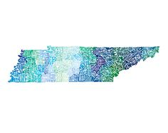 Tennessee -  typography map art print 8x10 - customizable state poster wall decor. $25.00, via Etsy.